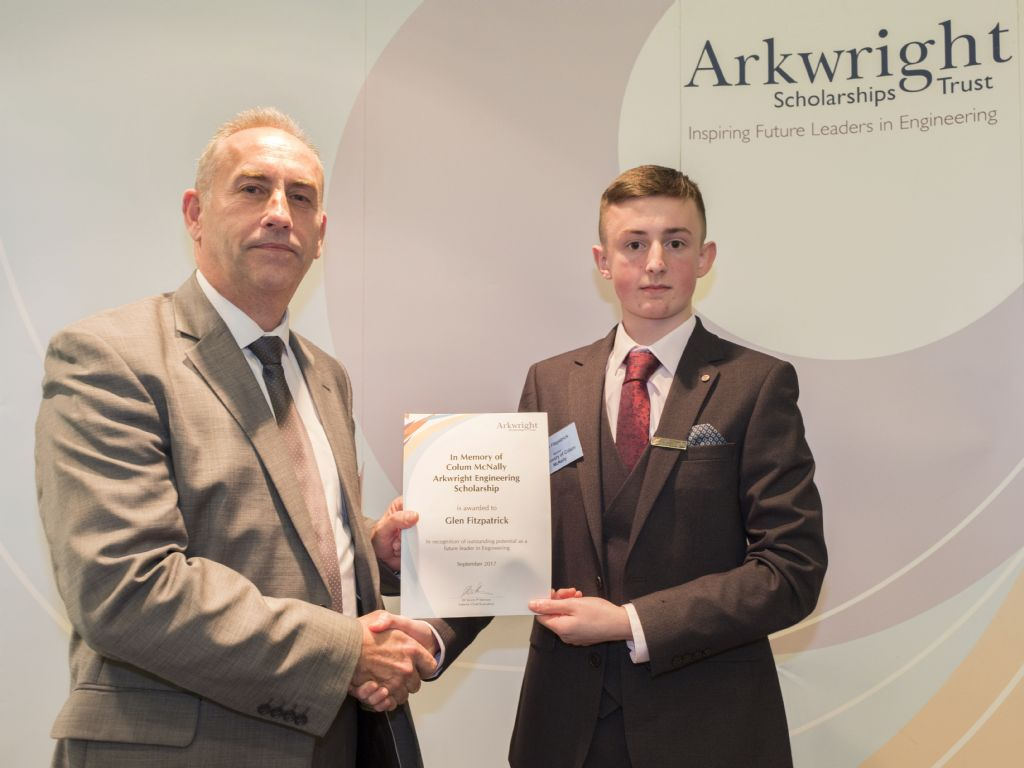 Glen awarded prestigious Arkwright Scholarship in memory of Colum Mc Nally