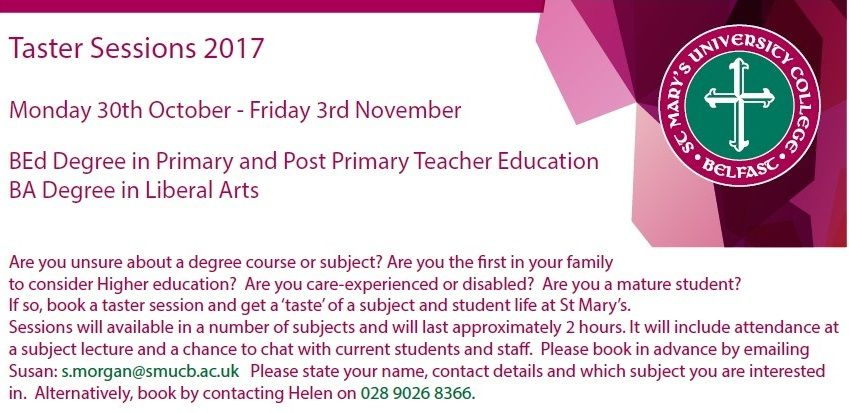 Check out St Mary's Taster Sessions